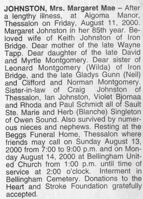 Obituary for Margaret Mae Johnston, Bellingham, 2000