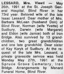 Obituary for Mrs. Viesti Lessard, Iron Bridge, 1991