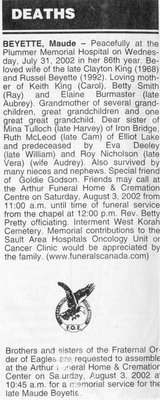 Obituary for Maude Beyette, Sault Ste. Marie, 1997
