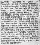 Obituary for Henrietta C. (Etta) Martin, Iron Bridge, 1997