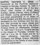 Obituary for Henrietta C. (Etta) Martin, Iron Bridge, 1997