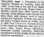 Obituary for Jean Tulloch, Iron Bridge, 1997
