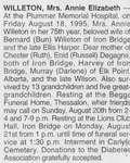 Obituary for Annie Elizabeth Willeton,1995