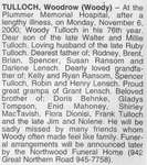 Obituary for Woodrow Tulloch, Sault Ste. Marie, 2000