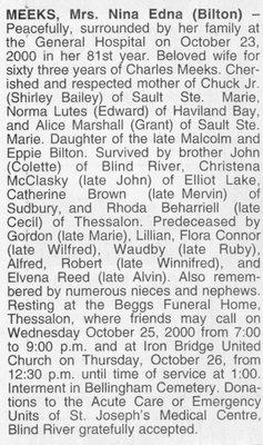 Obituary for Neena Edna (Bilton) Meeks, Bellingham, 2000