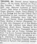 Obituary for Donald James Matthias (Dan) Trivers, Kynoch, 1999