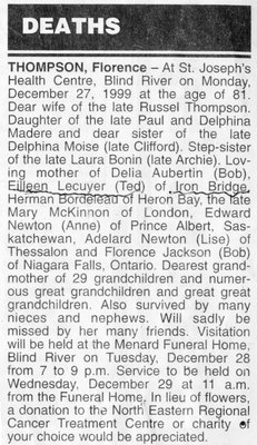 Obituary for Florence Thompson, Blind River, 1999