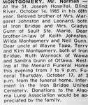 Obituary for Norman Montgomery, Iron Bridge, 1985