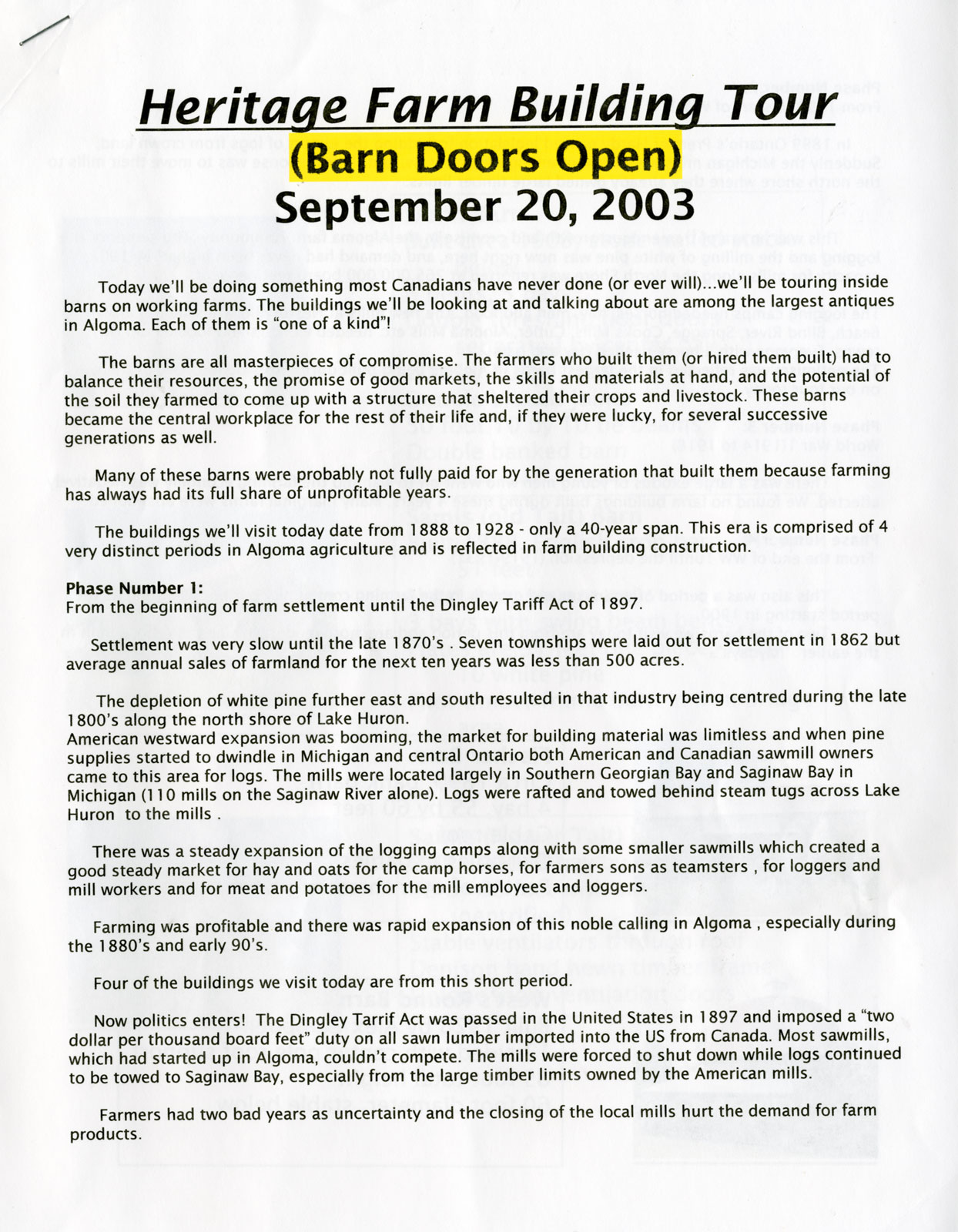 Heritage Barn Building Tour, Huron Shores, 2003