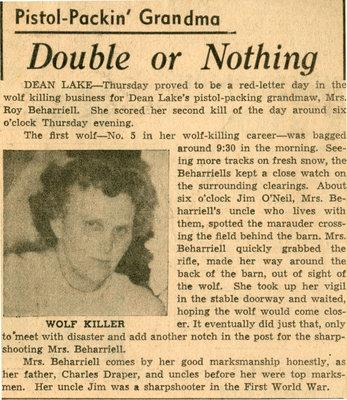 Pistol Packin' Grandmother Kills Wolf, Dean Lake, Circa 1950