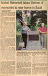 "Newspaper Clipping, ""Mabel Beharriell Takes Lifetime Of Memories To New Sault Home"", 1995"