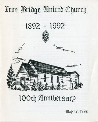 Iron Bridge United Church 100th Anniversary Church Service Program, 1992