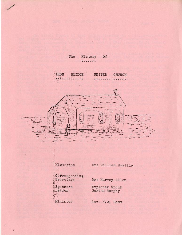 The History of the Iron Bridge United Church, Circa 1953