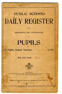 Public School Attendance Register, Township of Gladstone and Bright, 1902