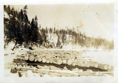 Log Dump at Camp, Circa 1930