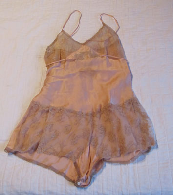 Peach Silk and Lace Teddy, Circa 1940