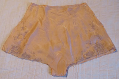 Silk Peach Underwear With Ecru Lace Insets, Circa 1940