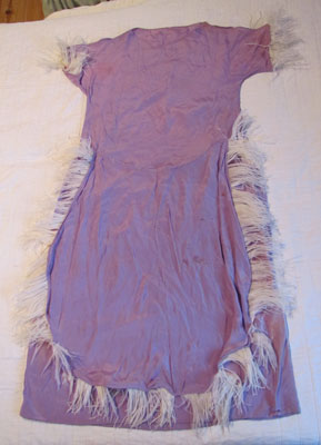 Purple Nightgown With White Ostrich Feathers, Circa 1940
