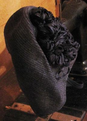 Black Sisal Hat With Black Trim, Circa 1940