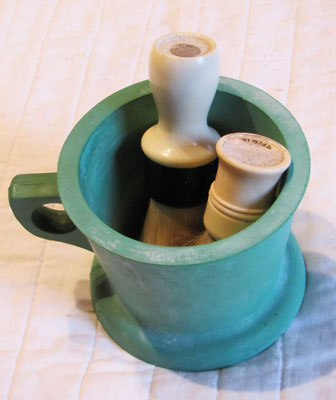 Shaving Mug and Brushes, Circa 1940