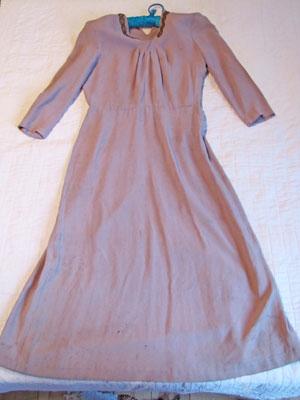 Full Length Grey Dress With Beaded Trim, Circa 1930