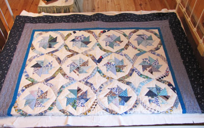 Blue Pinwheel Patterned Quilt, Circa 1960