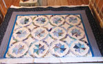 Blue Pinwheel Patterned Quilt, Circa 1960