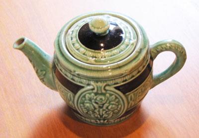 Small Light Green and Navy Tea Pot, Circa 1940