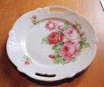 White Handled Serving Plate With Rose Décor, Circa 1940