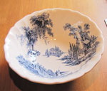 Large China Bowl With White and Blue Pattern (Old Mill), Circa 1955