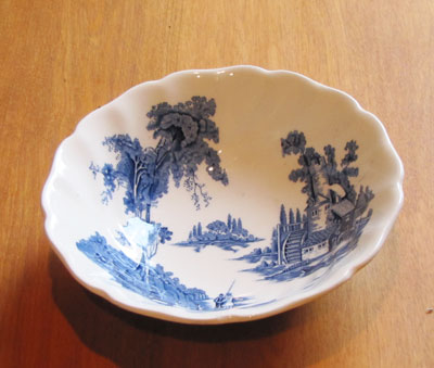 Small China Bowl White and Blue Pattern (Old Mill by Johnson Brothers), Circa 1955