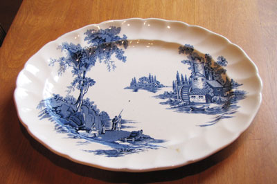 Serving Platter (White and Blue Pattern - Old Mill by Johnson Brothers Circa 1955 & Serving Platter (White and Blue Pattern - Old Mill by Johnson ...