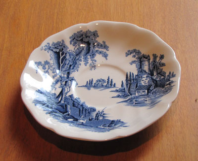 Saucer (Blue and White Pattern - Old Mill by Johnson Brothers, Circa 1955