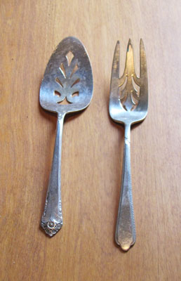 Large Silver Serving Fork and Spoon, Circa 1940