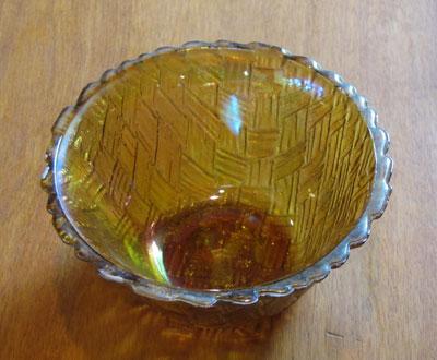 Amber Carnival Glass Bowl, Circa 1930