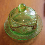 Round Cut Green Glass Butter Dish, Circa 1930