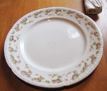 White China Plate With Pink Rose Border, Circa 1940