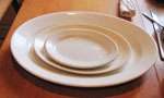 Three Piece White Platter Set, Circa 1940