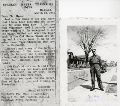 Stanley Meets Thessalon Boys, Newspaper Clipping, 1943