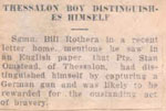 """Thessalon Boy Distinguishes Himself"", Newspaper Clipping, 1943"
