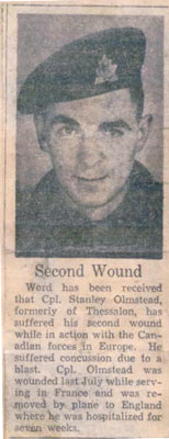 Stanley Olmstead Suffers Second Wound, Circa 1944