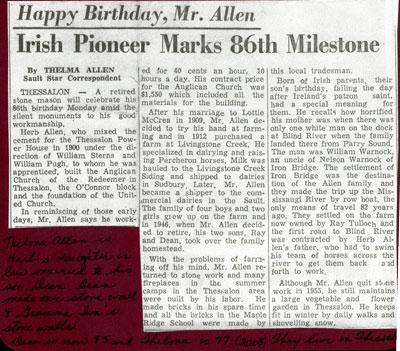 Mr. Herb Allen Marks 86th Milestone,Thessalon, 1963