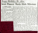 Mr. Herb Allen Marks 86th Milestone,Thessalon, 1963