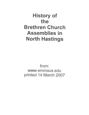 History of the Brethren Church Assemblies in North Hastings