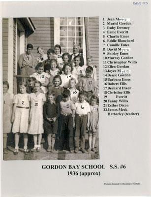 Gordon Bay School 1936 (Approx)