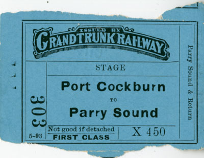 Stage ticket from Port Cockburn to Parry Sound