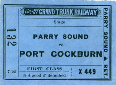 Stage ticket from Parry Sound to Port Cockburn