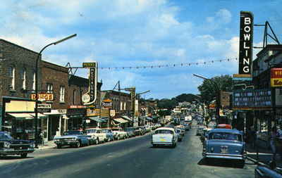 Main Street, Huntsville, Ontario looking east, early 1960's