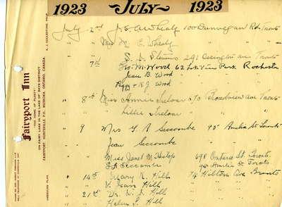 Guest register for Fairyport Inn, Fairy Lake, Huntsville, Ontario, July 2, 1923-July 21, 1923.