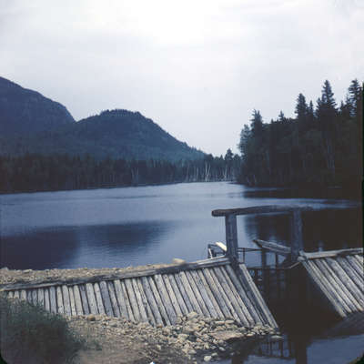 Unknown dam on Big East River system, Muskoka, Ontario,1949.